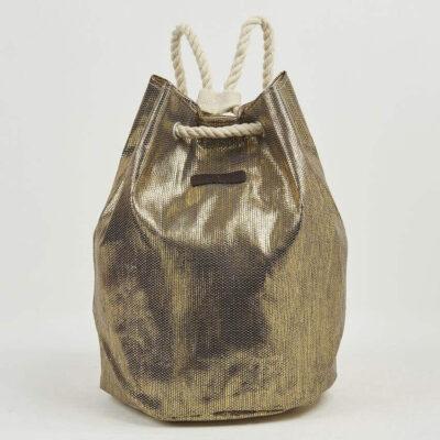Ψάθινη Τσάντα Θαλάσσης Backpack Pierre Cardin Β957 Χρυσό