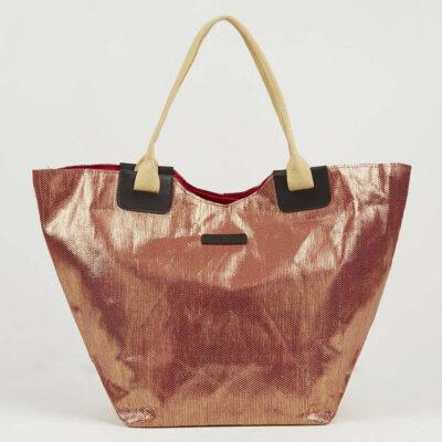 Ψάθινη Τσάντα Θαλάσσης Pierre Cardin Β955 Μπρονζέ-Κόκκινο