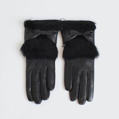 Δερμάτινα Γάντια Pierre Cardin Με Γούνα Μαύρο (2)