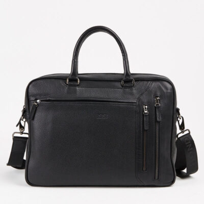 Genuine Leather Briefcase Bond City Black
