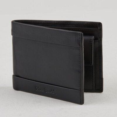 Leather Wallet Pierre Cardin Black Mark RFID System