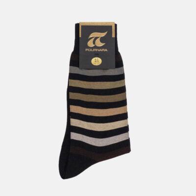 Βαμβακερές Κάλτσες Πουρνάρα Με Ρίγες 3410 Καφέ