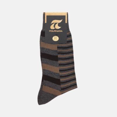 Βαμβακερές Κάλτσες Πουρνάρα Με Ρίγες 3501-3 Γκρι-Καφέ