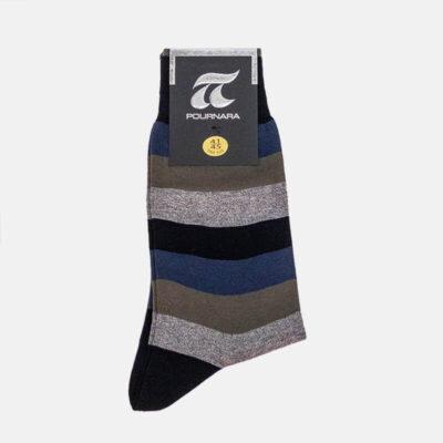 Βαμβακερές Κάλτσες Πουρνάρα Με Ρίγες 3505-4 Γκρι