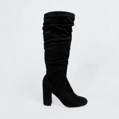Γυναικεία Ψιλή Μπότα Με Σούρα 500409 Μαύρο