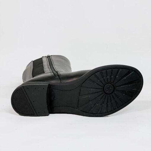 Δερμάτινη Μπότα Με Διπλό Λάστιχο και Φερμουάρ Bussola 3419 Μαύρο