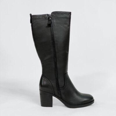 Δερμάτινη Μπότα Με Διπλό Φερμουάρ 66925 Μαύρο