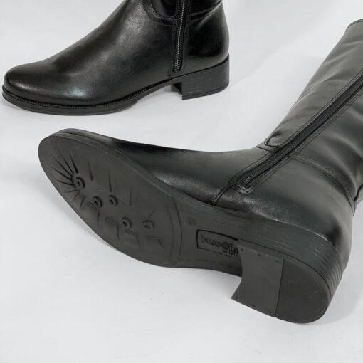 Δερμάτινη Μπότα Με Διπλό Φερμουάρ Bussola 3419 Μαύρο