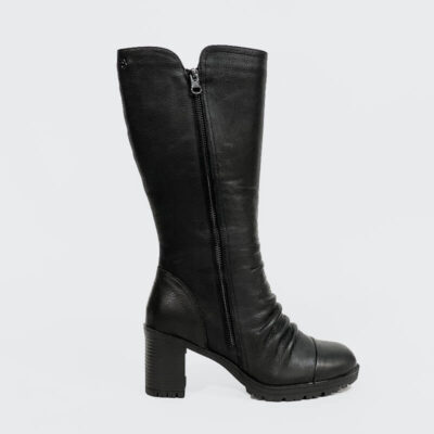 Δερμάτινη Μπότα Με Σούρα Carmela 66870 Μαύρο