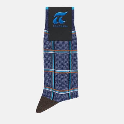 Βαμβακερές Κάλτσες Πουρνάρα Καρό 3681-3 Μπλε