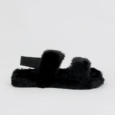 Γούνινη Παντόφλα Με Λάστιχο X8139 Μαύρο