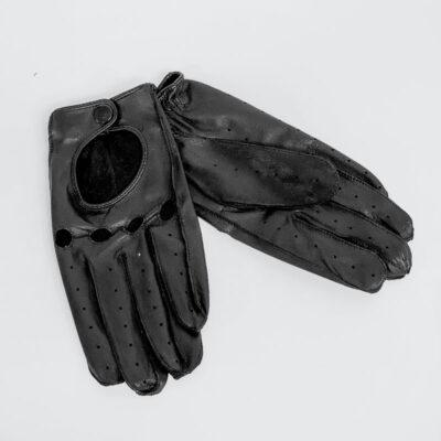Γυναικεία Δερμάτινα Γάντια Biker 3626 Μαύρο