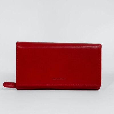 Δερμάτινο Πορτοφόλι Με Κούμπωμα 306-155 Κόκκινο