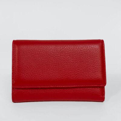 Δερμάτινο Πορτοφόλι Με Κούμπωμα 518 Κόκκινο