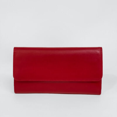 Δερμάτινο Πορτοφόλι Με Κούμπωμα 905 Κόκκινο