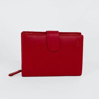 Δερμάτινο Πορτοφόλι Με Κούμπωμα RCM Z54 Κόκκινο