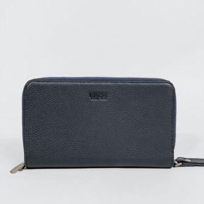 Μεγάλο Δερμάτινο Πορτοφόλι Bond 01218 Σκούρο Μπλε