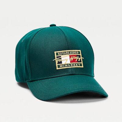 Καπέλο Tommy Hilfiger TH Patch Signature AM0AM07387-L6N Πράσινο