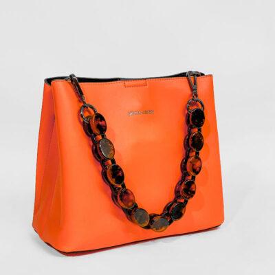 Τσάντα Ώμου Με Αλυσίδα Pierre Cardin 191012 Πορτοκαλί