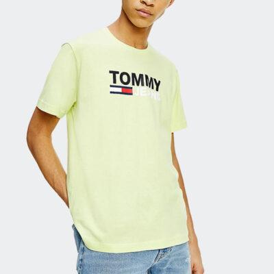 T-shirt Tommy Jeans DM0DM10214-LT3 Κίτρινο Lime