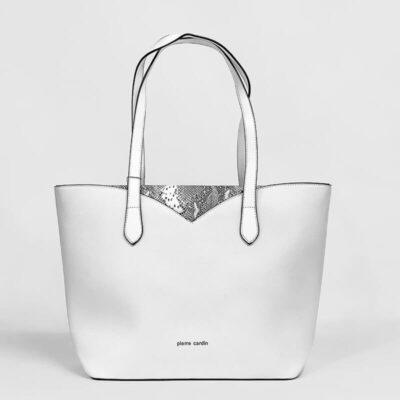 Τσάντα Ώμου Με Στάμπα Φιδιού Pierre Cardin 9331 Άσπρο