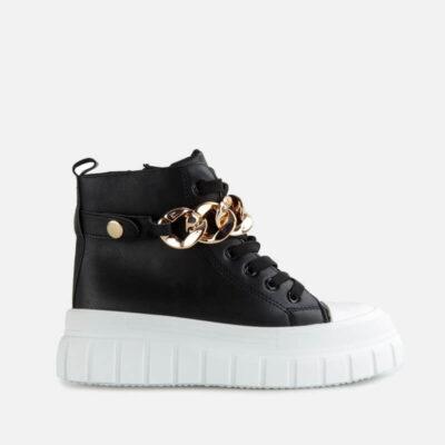 Sneaker Μποτάκι Με Oversized Αλυσίδα 0533-LT-101 Μαύρο